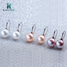 2020 New Fashion Genuine 8-9MM Freshwater Pearl Earrings for Women High Quality Silver Ear Hook Earrings White/Pink/Purple Pearl(China)