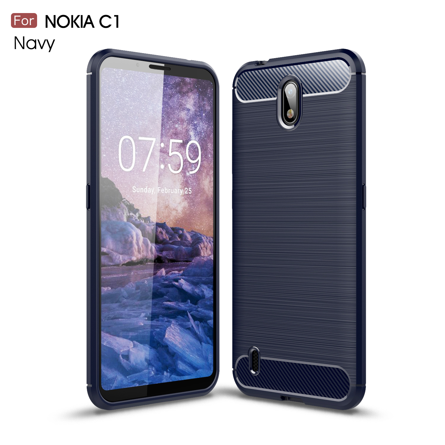 For Capas Nokia C1 Case For Nokia C1 Anti-Knock Soft TPU Brushed Rugger Silicone Phone Case For Nokia C1 Cover Bumper