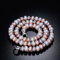 Fashionable Natural Freshwater Pearl Necklace, Elegant Female Royal Pearl Mounier 3 color Necklace Pendant