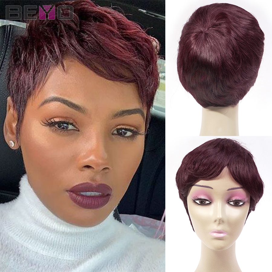 Pixie Cut Wig Colored Short Human Hair Wigs For Women 99J Straight Full Machine Wig Burgundy Brazilian Hair Wigs 150% Remy Hair
