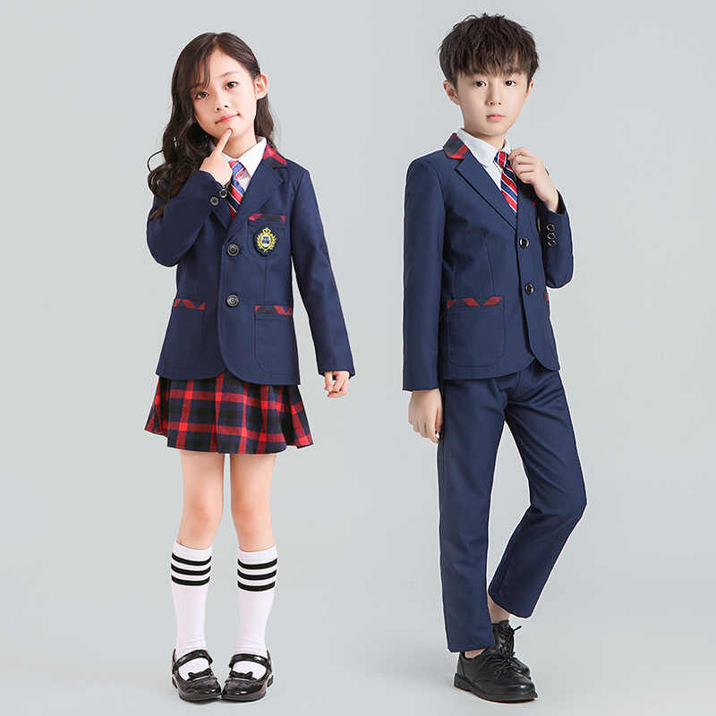 3/4PCS Primary Blazer School Uniform British College Style Children Boys  Tuxedo Set Girls Skirt Dress Suit Kindergarten Clothing|Blazers| -  AliExpress