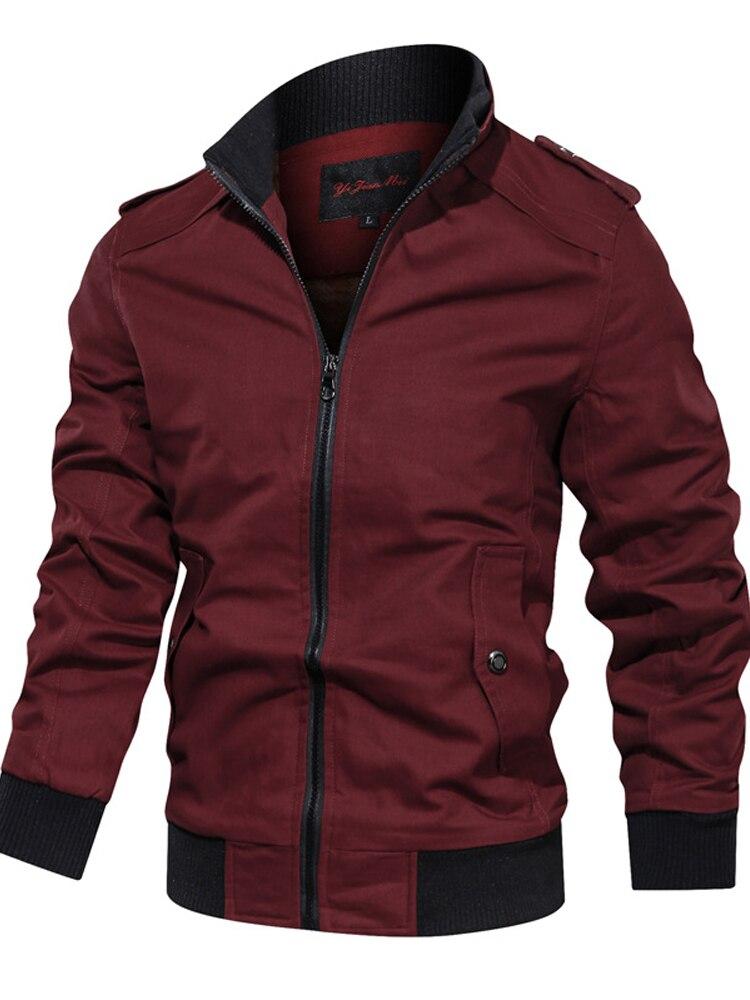 Jacket Men Coat Windbreaker Pilot Spring Autumn Multi-Pocket Cotton Solid Jaqueta Slim-Fit