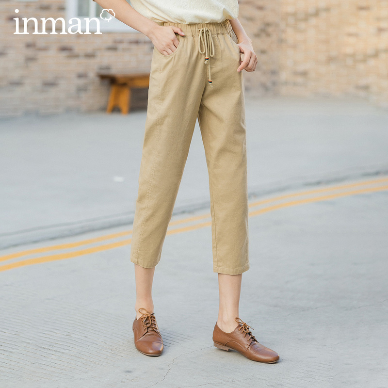 INMAN 2020 Spring New Arrival Cotton And Linen All Match Comfortable Causal Harem Pants