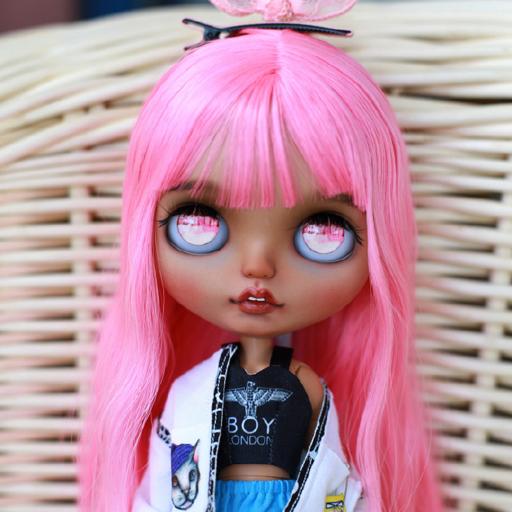 Neo Blyth Doll NBL 1/6 BJD Customized Frosted Face,big Eyes Cool Girl Makeup Ball Jointed Doll With Pink Hair Handmade Doll