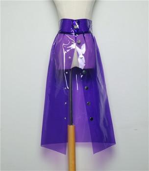 Skirt Spring Female New PVC Transparent Skirt Korean A Word Skirt High Waist Student Spring Plastic Skirt Holographic Long Skirt фото