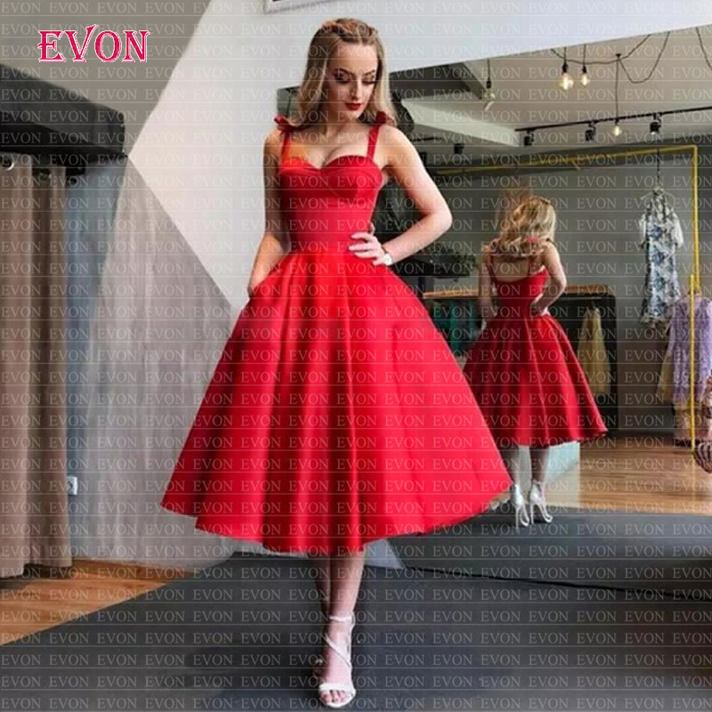 Robe De Soiree Lovely Tea Length Stain Princess   Evening     Dresses   Elegant Spaghetti Straps With Pockets Formal Party Prom Gowns