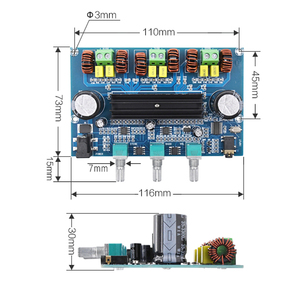 Image 2 - Bluetooth 5.0 TPA3116D2 Digital Power Amplifier Board 2.1 Channel 2*50W+100W Stereo Power Audio Class D Bass Subwoofer Amplifier