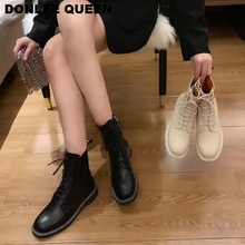 цены Fashion Ankle Boots Women Round  Toe Lace Up Riding Boots For Women Winter Shoe Women Female Casual Short Boots zapatos de mujer