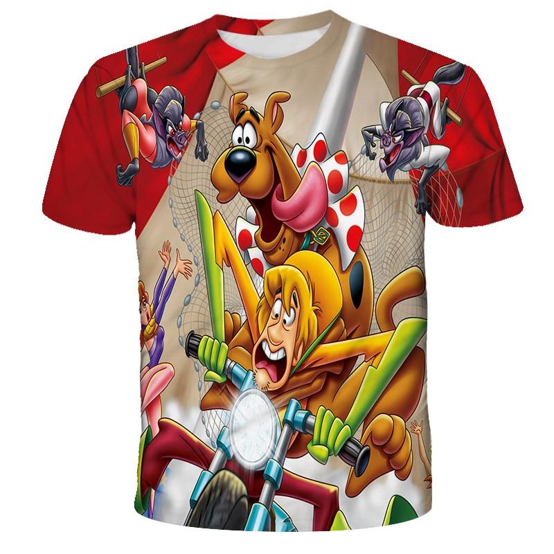 Детские свитшоты XINYOU с аниме 3d принтом, модная футболка Scooby, детские топы, футболки, Забавная детская футболка, свитшот для мальчиков и девоч...