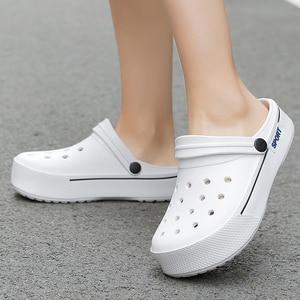 Image 5 - 2020 New Sandals Men Square Hole Couple Sandals Summer Flip flops Breathable Beach Shoes Comfortable Men and Women Shoes
