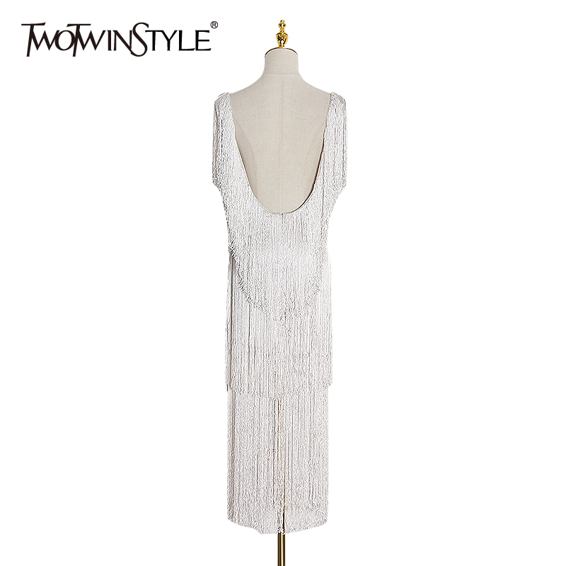 TWOTWINSTYLE Patchwork Tassel Dress For Women Tank Square Collar Sleeveless Sexy Party Dresses Female 2020 Spring Fashion New