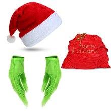 Reneecho grinch verde cosplay verde peludo luvas papai noel saco natal natal boné