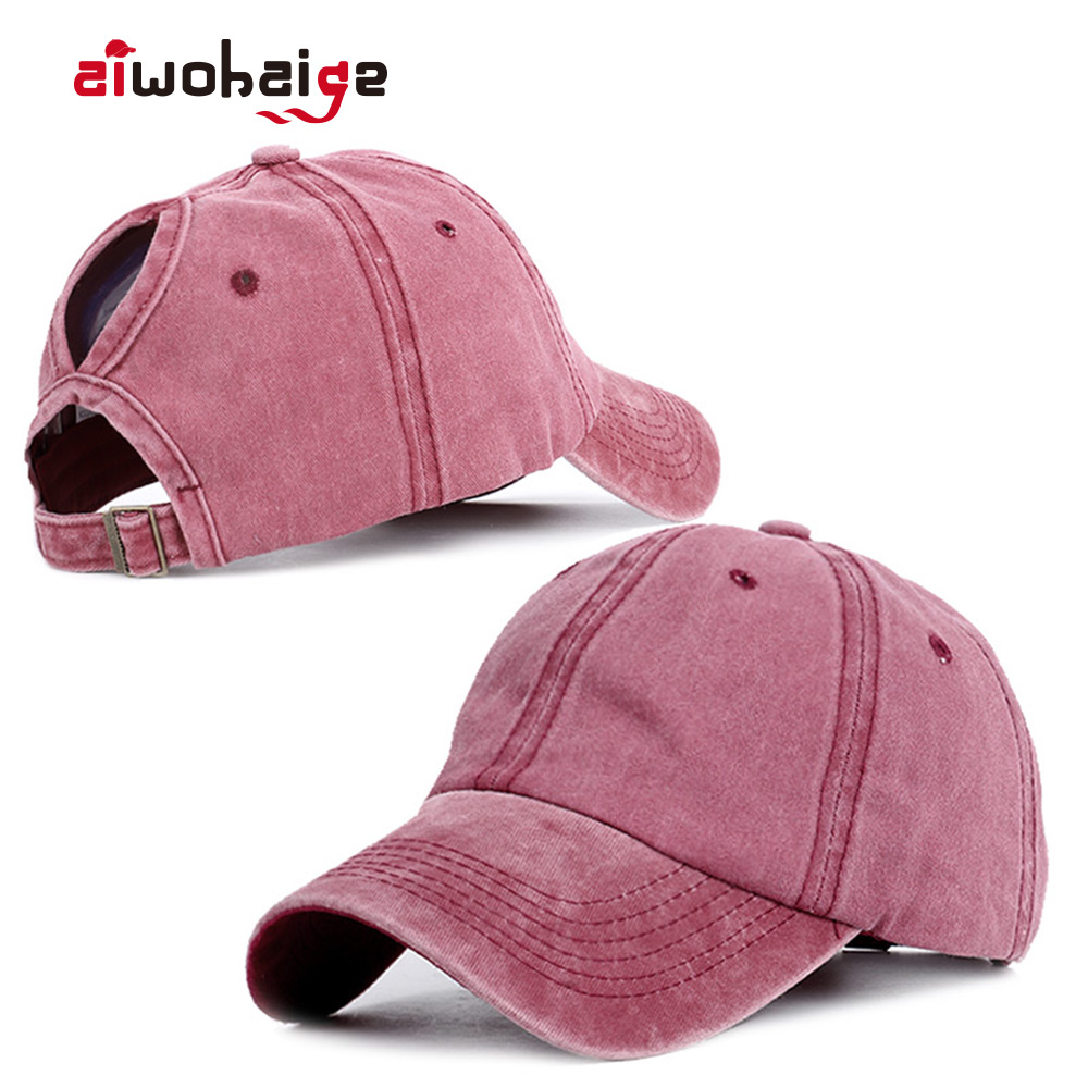 2020 Ponytail Baseball Cap Women Vacation Snapback Hat Washed Cotton Comfort Spring Casual Sport Caps Adjustable Dropshipping