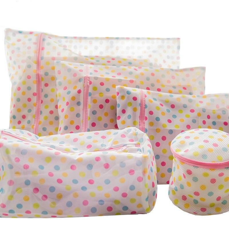 5 Sizes Mesh Laundry Wash Bags For Lingerie/ Socks /Underwear Laundry Bag With Zipper Nylon Mesh Net Bra Washing Bag