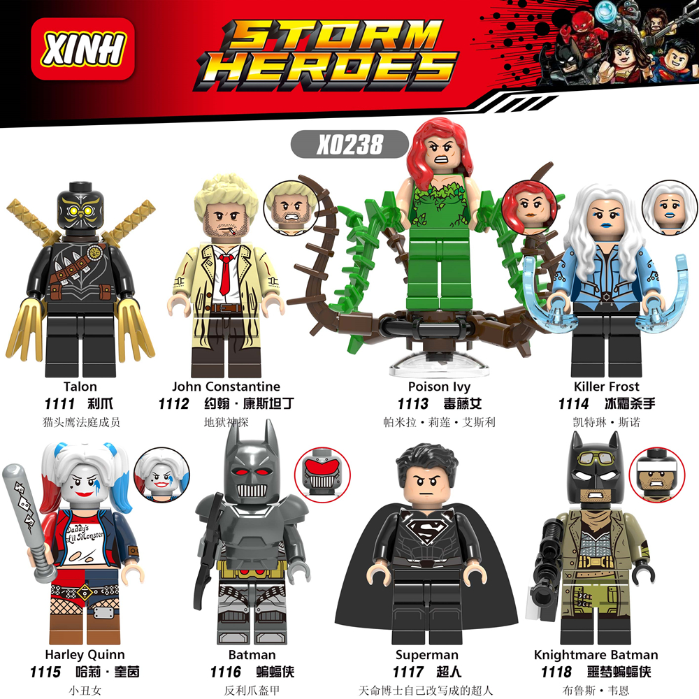 Super Hero Figure John Constantine Poison Ivy Killer Frost Harle Quinn Knightmare Batman Superman Buidling Blocks Toys Legoing