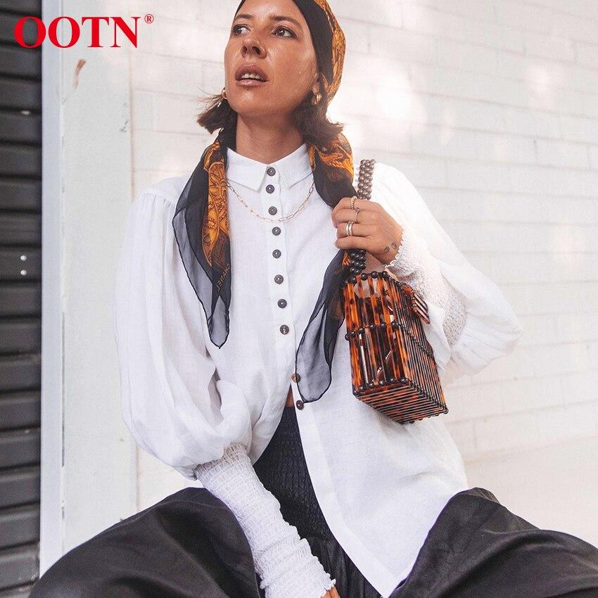 Женская блузка OOTN, белая, с рукавом фонариком, на кнопках, на осень и зиму, 2020| |   | АлиЭкспресс