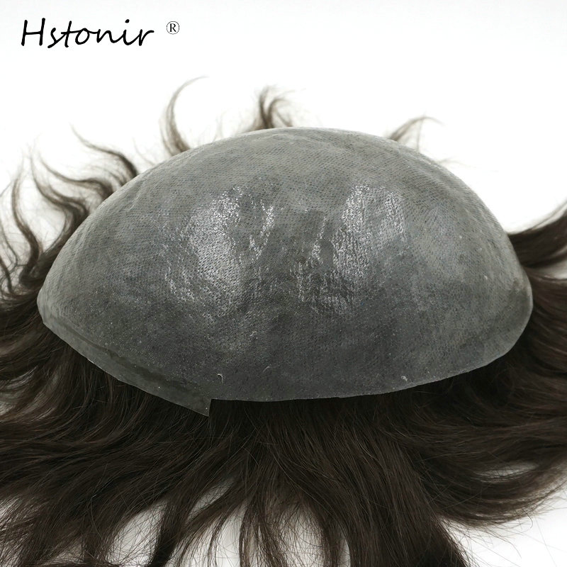 Hstonir Thin Skin Toupee V-loop Invisible Knot Human Indian Remy Hair Replacement System H079