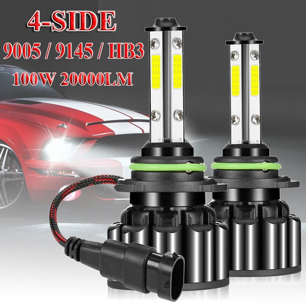 4-Side 9005 9145 HB3 LED Headlight Kit 100W 20000LM Hi-Lo Beam Bulb 6000K White