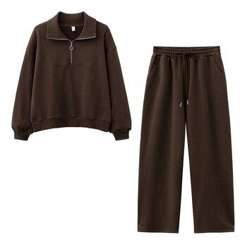 New design 2021 Women fashion sweatshirt sets Casual Spring Summer Wild leg pants suit Cotton 1