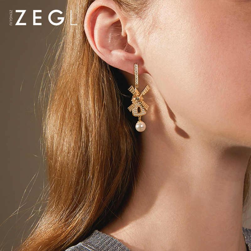 ZEGL Designer Bahasa Belanda Pemandangan Seri Kreatif Kincir Angin Rumah Anting-Anting Wanita Temperamen Net Merah Anting-Anting Anting-Anting Telinga Perhiasan