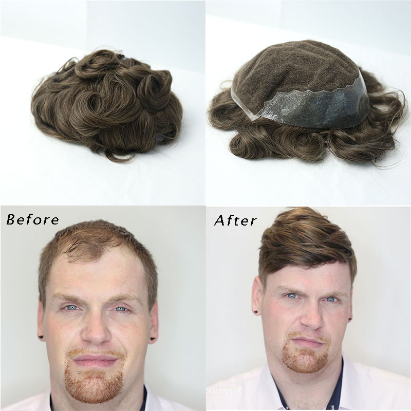 Français dentelle hommes toupet dentelle avant attaché à la main hommes remplacement cheveux humains Q6 toupet Rosa Queen