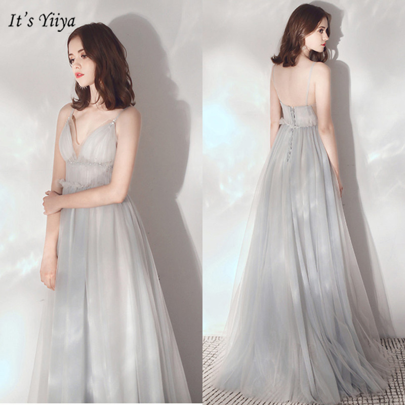 It's Yiiya Evening Dress Sleeveless Spaghetti Strap A-Line Women Party Dresses Ruched V-Neck Floor-Length Robe De Soiree V124