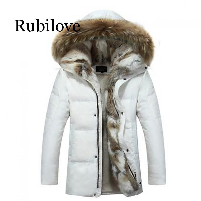 5XL белая куртка пуховик на утином пуху 2019, Женское зимнее пальто с гусиным пером, длинная парка с мехом енота, теплая верхняя одежда с кроличьим мехом размера плюс - 6