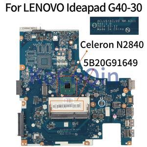 KoCoQin ACLU9 ACLU0 NM-A311 Laptop motherboard For LENOVO Ideapad G40-30 14' inch Mainboard 5B20G91649 Core N2840 SR1YJ