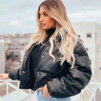 Winter Parka Coat Women's Jacket Thick Warm Women Fashion Black PU Leather Coats Women Elegant Zipper Faux Leather Jackets Tops 1