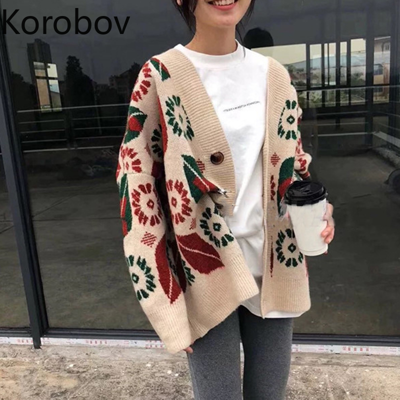 Korobov Korean V-Neck Fashion Knit Cardigans Vintage Winter New Single Breasted Cardigans Harajuku Pattern Sueter Mujer 79294