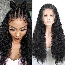 RONGDUOYI длинные Плетеные Коробки косички парик черные волосы синтетические парики на кружеве для женщин термостойкие волокна волос передний парик на шнурке
