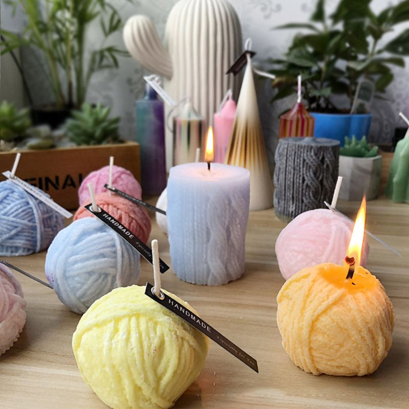 3D Yarn Ball Silicone Aroma Candle Mold Soap Gypsum Clay Making Cake Baking Q84D For Kitchen Accessories
