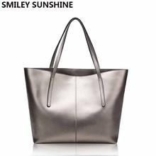 Silver Cow Genuine Leather Women Bags 2020 Big Handbag Fashion Top handle Hand Bag Ladies Tote Large Luxury Female Shoulder Bag