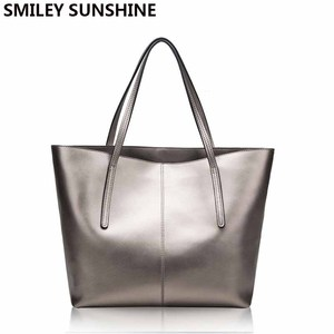 Image 1 - Silver Cow Genuine Leather Women Bags 2020 Big Handbag Fashion Top handle Hand Bag Ladies Tote Large Luxury Female Shoulder Bag
