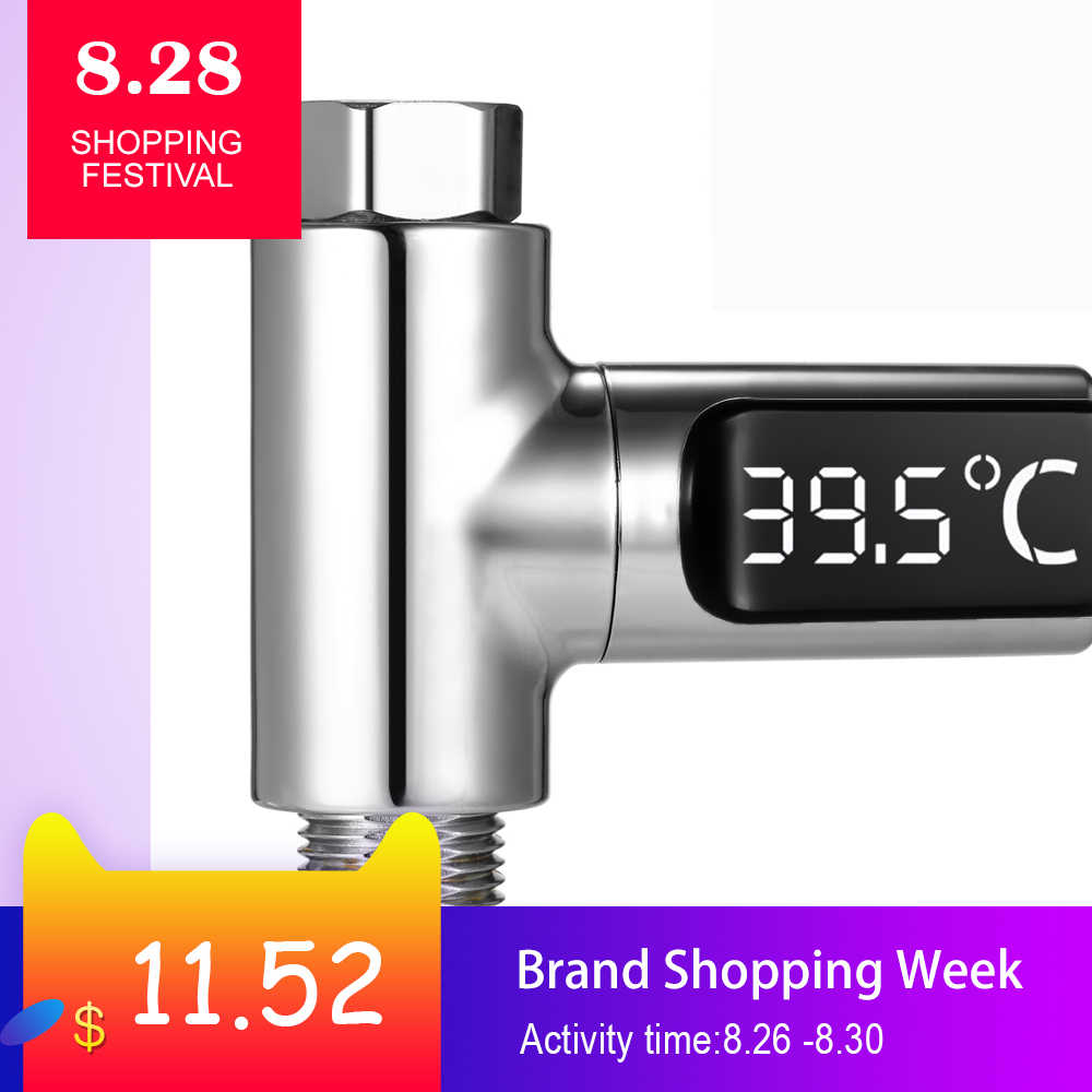 LED Digital Water Shower Faucets Thermometer Baby Real-Time Water Flow Kitchen Bathroom Temperature Indoor Monitor 360° Rotating