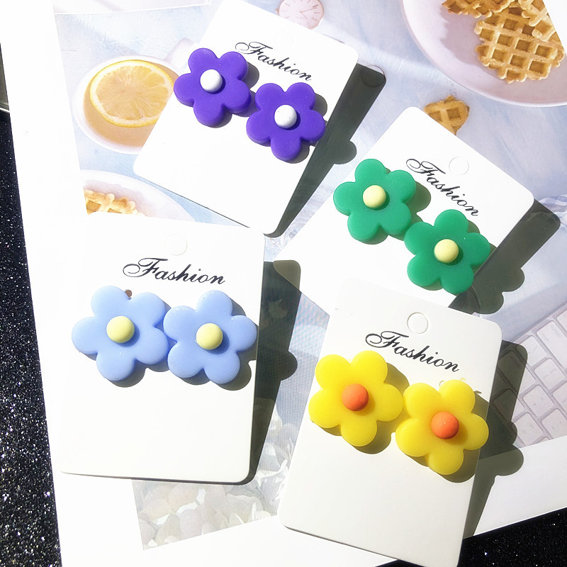 Korea Ins Wind Flower Earrings Cartoon Clay Color Cute Girl Stud Jewelry