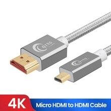 마이크로 HDMI HDMI 케이블 2.0 3D 4k 1080P 고속 HDMI 어댑터 GoPro 영웅 7 블랙 영웅 5 라즈베리 파이 4 레노버 마이크로 HDMI