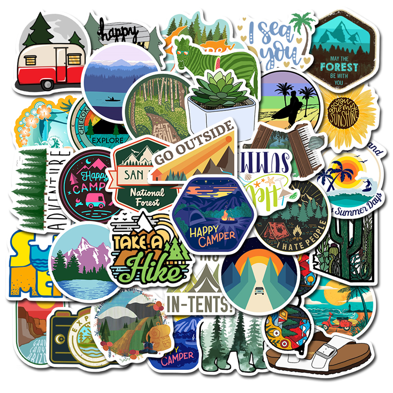 50PCS Camping Travel Stickers Wilderness Adventure Outdoor Landscape Waterproof Decal Sticker To DIY Suitcase Motor Laptop Car