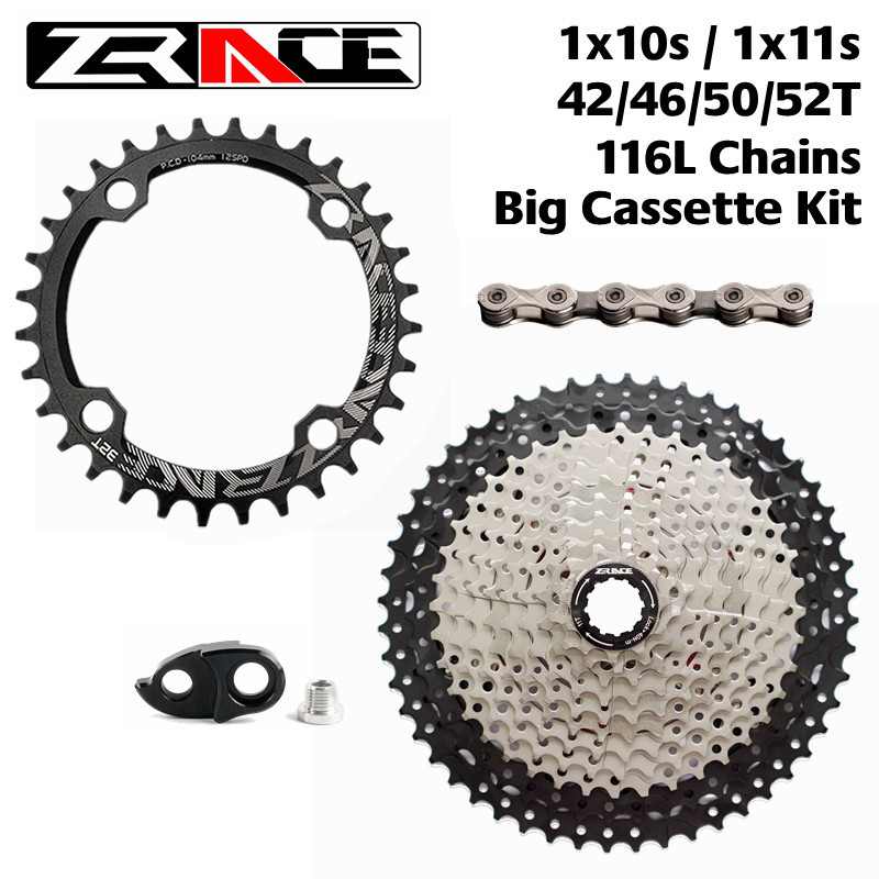 ZRACE MTB Bike Chainring 34T / 36T + Freewheel 46T / 50T / 52T + S11 / 10S Chains Groupset, 10 / 11 Speed Big Cassettes Kit