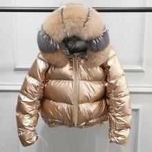 Пальто с натуральным лисьим меховым воротником зимняя куртка женская Свободная короткая пуховая куртка белая пуховая куртка Толстая теплая пуховая парка