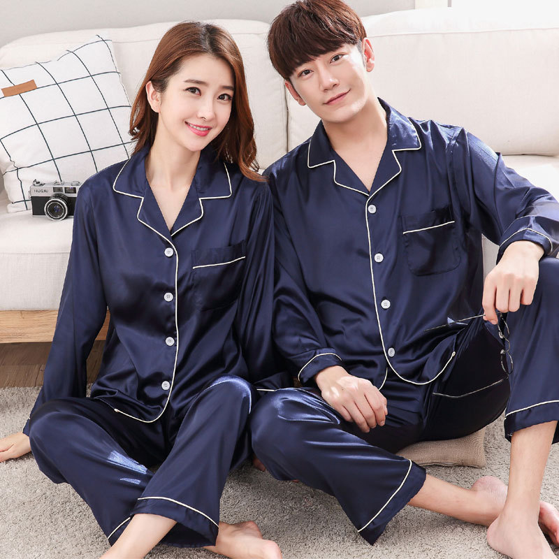 FZSLCYIYI Couple Sleepwear Clothing Pajamas-Sets Night-Suit Satin-Silk Family Women Home title=