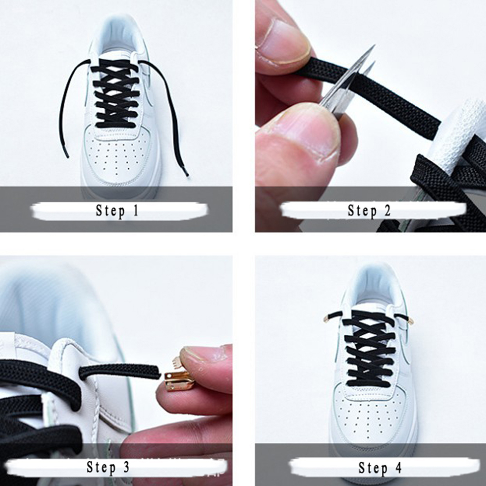 1Pair No Tie Shoelaces Flat Elastic Shoe Laces For Kids And Adult Sneakers Shoelace Quick Lazy Laces Shoe Strings