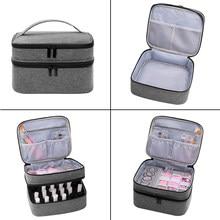 Portable Nail Polish Storage Bag Double-Layer Cosmetic Handbag Essential Oil Perfume Lipstick Organizer Holder Travel Carrier