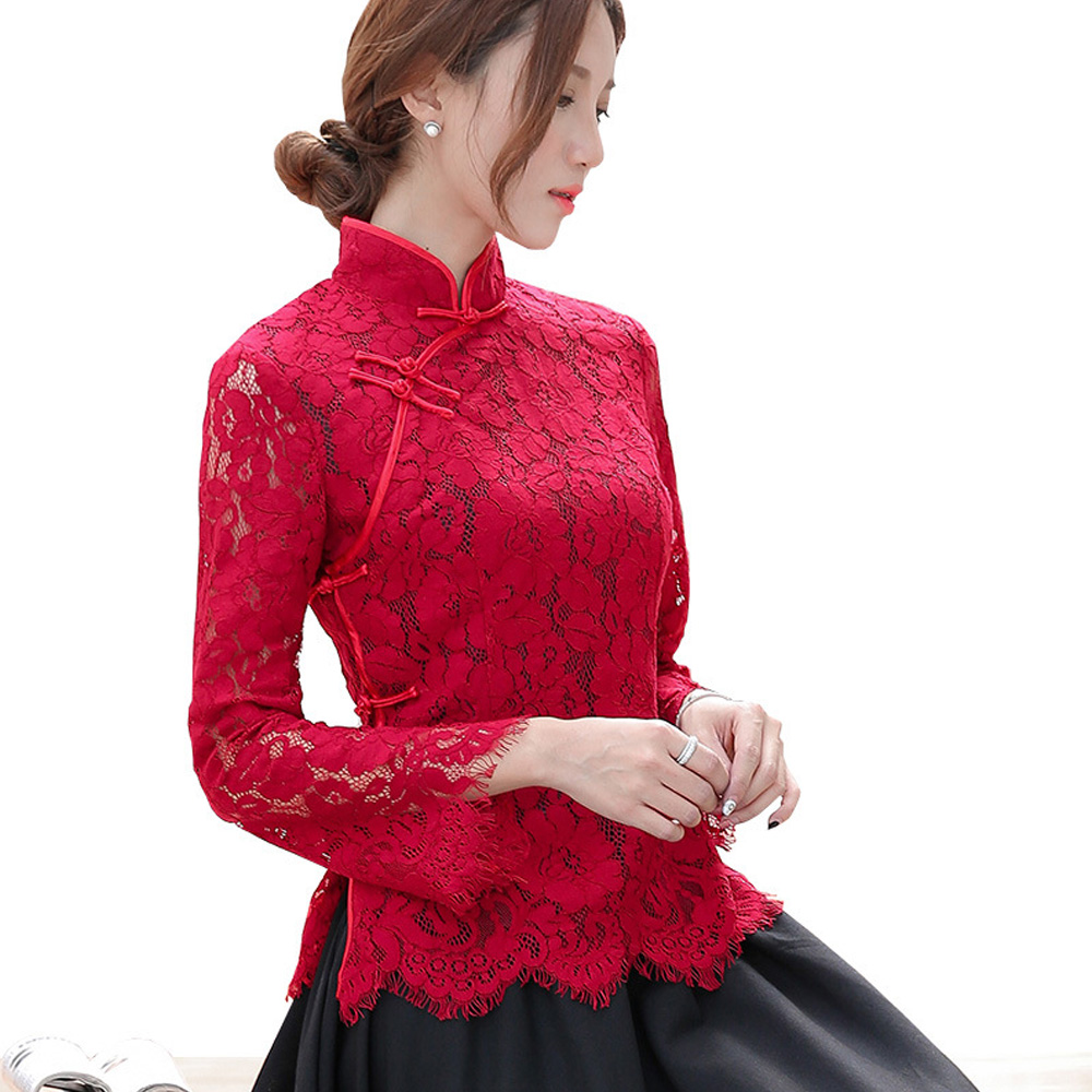 2020 Summer Elegant China Red White Pink Lace Cheongsam Blouse Traditional Clothing Hollow Out Ruffle Fashion Tang Tops Women image