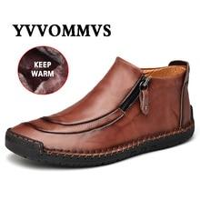 Nuevos zapatos de cuero para hombre, para Otoño Invierno, cosido a mano, suaves, resistentes al desgaste, con cremallera lateral, zapatos casuales de moda