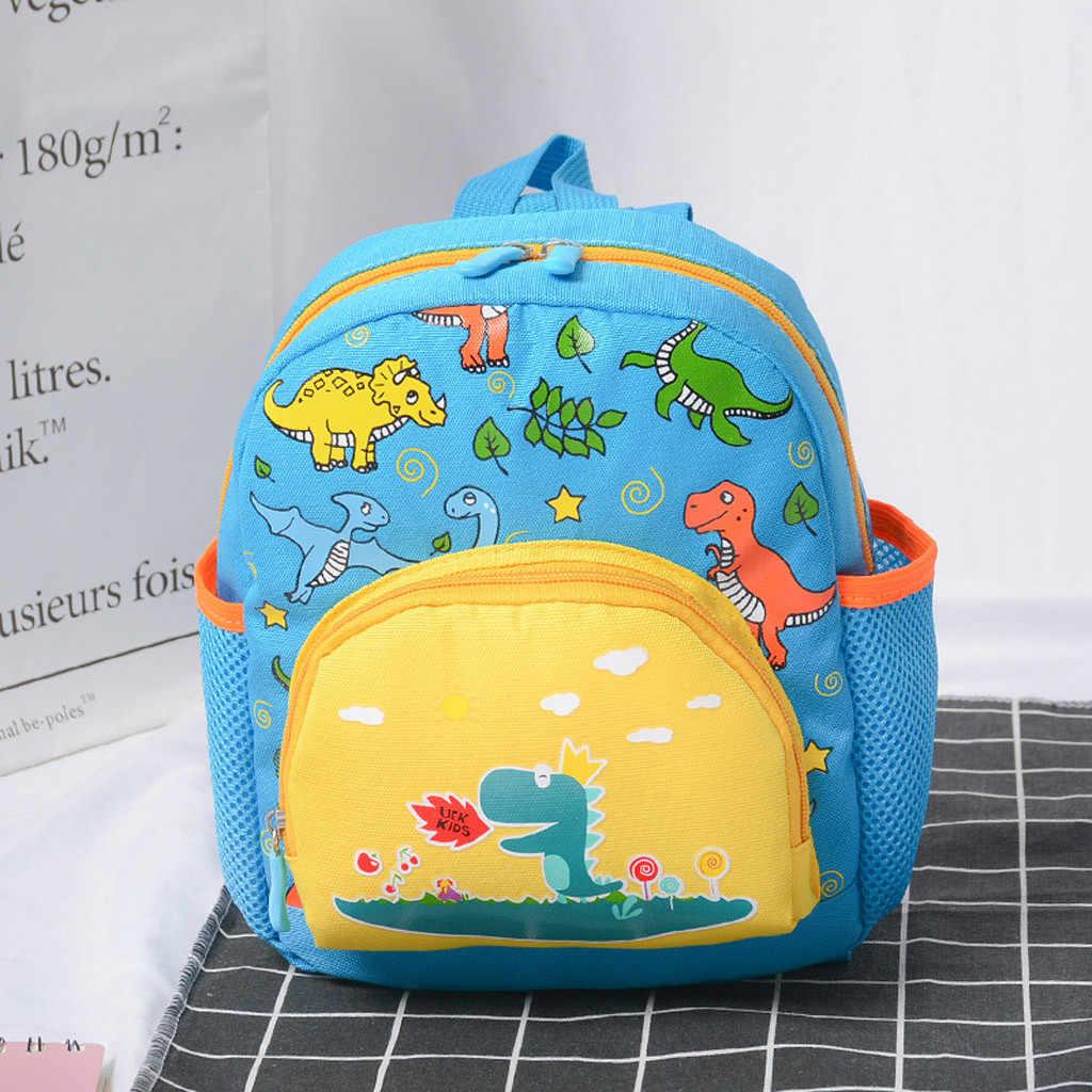 Mochila de moda para niños pequeños, niños, niñas, niños, mochilas escolares con bonitos dibujos animados de dinosaurios impresos con cremallera # p4