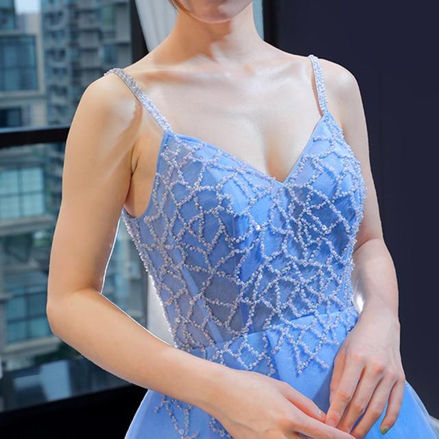 J66923 jancember prom party kleider a-line v-ausschnitt spagthetti strap perlen blau abendkleid 2019 kleider damen abendkleid