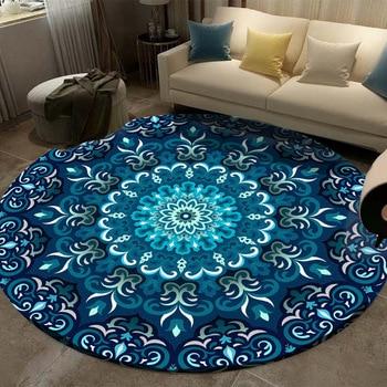 Carpet Coral Velvet Computer Chair Floor Mat Mandala Printed Round Carpet for Children Bedroom Play Tent Area Rug Round 160cm