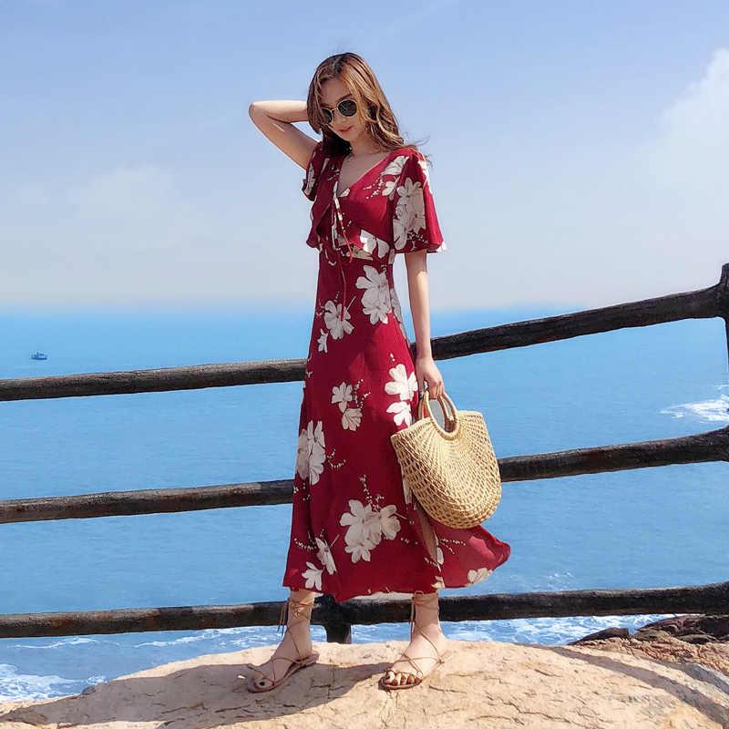 Yaz plaj tatil elbisesi kadınlar çiçek Boho V boyun tatlı elbise kısa kollu Backless seks şifon elbiseler Sundress