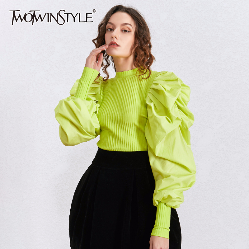 TWOTWINSTYLE Patchwork Puff Sleeve Knitted Tops Female Lantern Sleeves Sweater Women Fashion Clothes Korean 2020 Spring New
